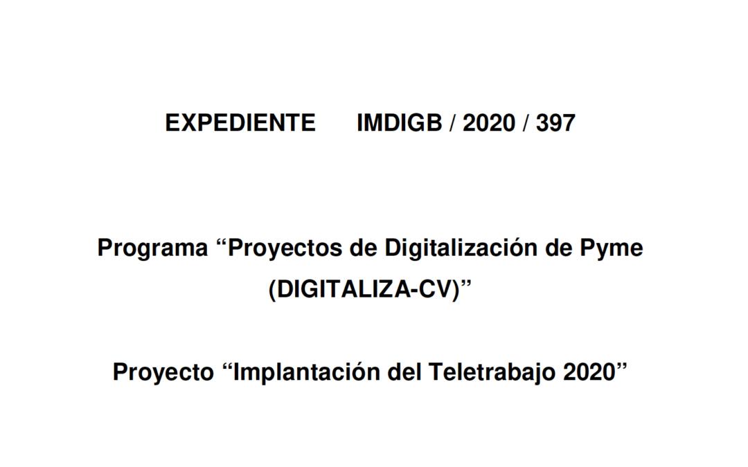 """Subvención Proyecto """"Implantación del Teletrabajo 2020"""""""