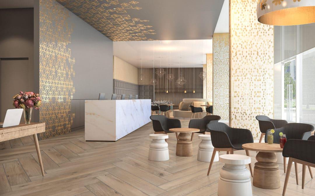 Böden und Wände für Hotels und Restaurants. Designs, die das Publikum anziehen
